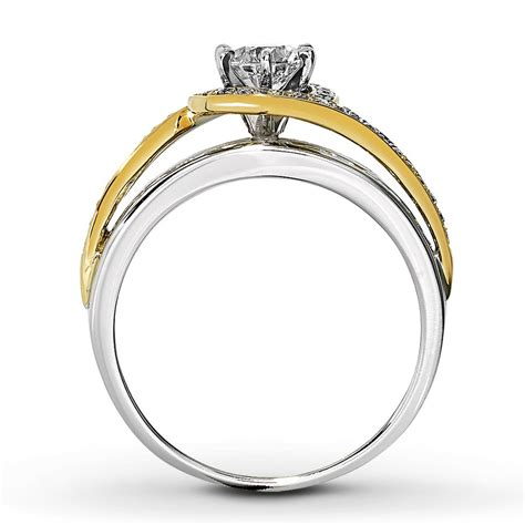 designer white and yellow gold engagement