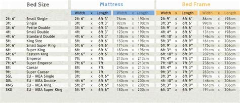 bed size charts floating bed