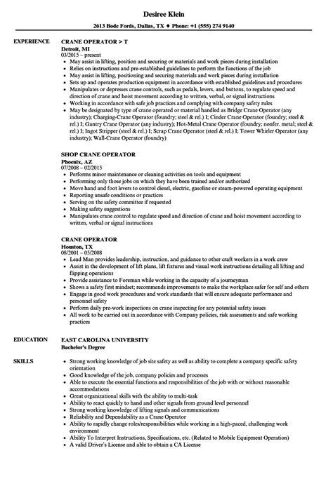 Hydraulic Crane Operator Sle Resume by Hydraulic Crane Operator Sle Resume Receipt Of Payment Template Word Sle Resume Nanny