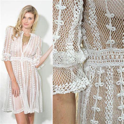 white swing dress wedding vtg sheer crochet white cut out wedding swing boho