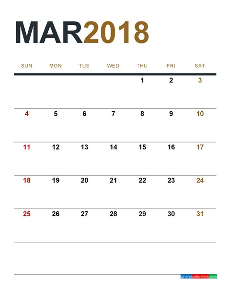 1 Calendar Month March 2018 Calendar Printable As Pdf And Image 1 Month 1