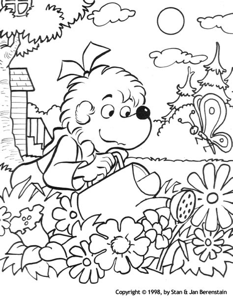 Coloring Activity Pages Sister Bear Watering The Garden Coloring Pages Garden
