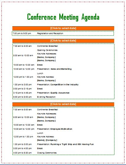 meeting agenda template word conference agenda template free chlain