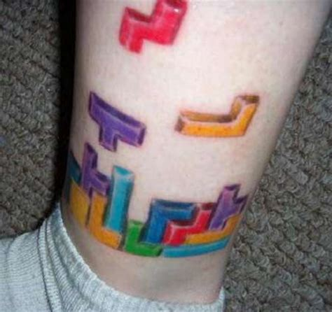 tetris tattoo tetris tattoos geeky shapes make their way from