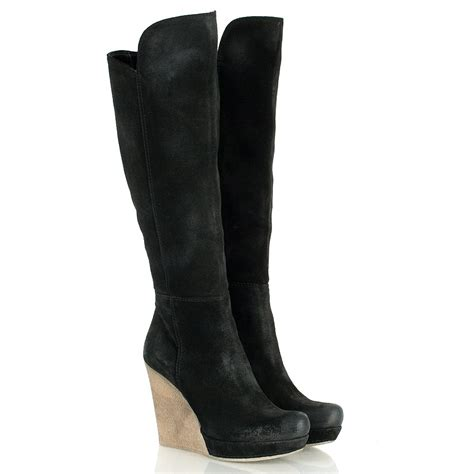 wedge boots daniel black wisdom womens knee high wedge boot