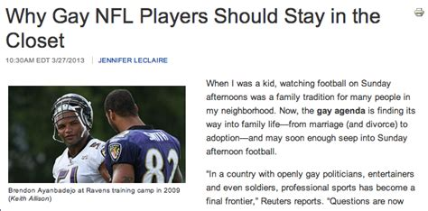 Athletes In The Closet by Christian Magazine Football Players Should Stay In