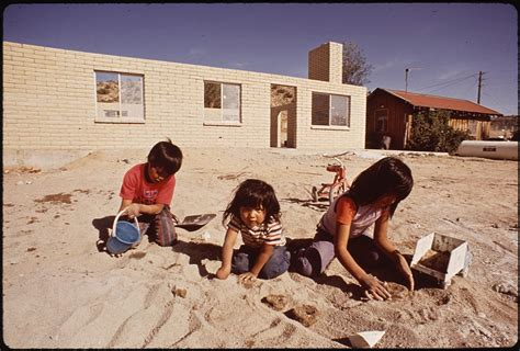 Navajo County Records File Navajo Children Make Mud Quot Flat Bread Quot New Housing In Background Nara 544424