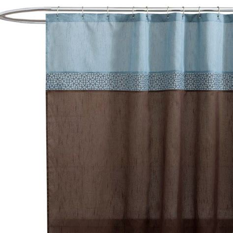 Geometric Blue Brown Fabric Shower Curtain