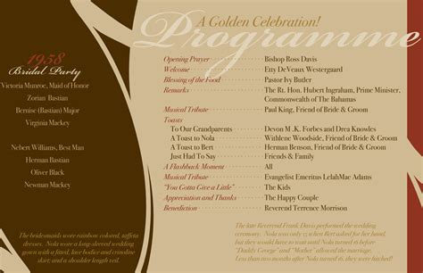 anniversary program template 6 best images of 50th wedding anniversary program sles