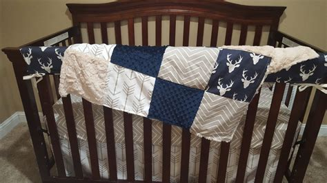 Baby Boy Crib Bedding Navy Buck Ecru Chevron White Tan Ecru Crib Bedding