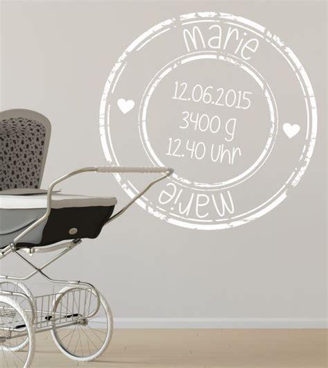 kinderzimmer deko personalisiert stempel kinderzimmer baby geburt wandtattoo