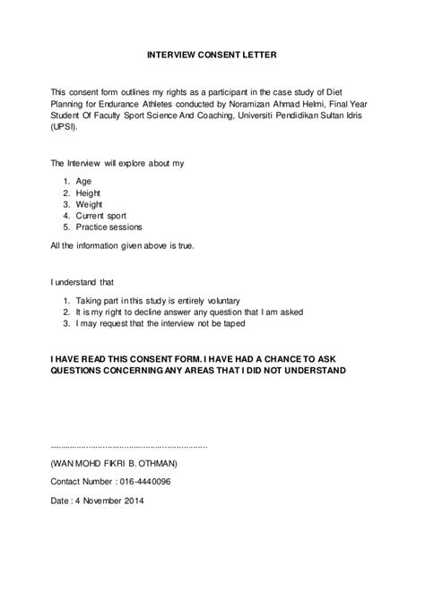 Letter Of Consent For Research Interviewing Meal Planning For Endurance Athletes