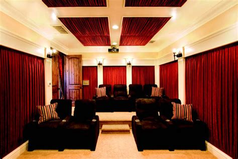home theater curtain ideas dramatic home theater design with curtains on every wall