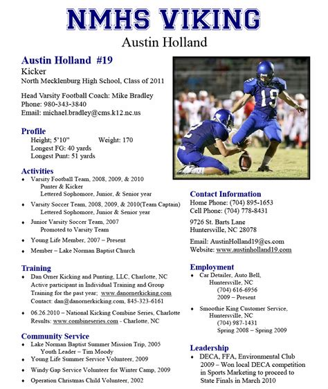 sports resume template nmhs viking