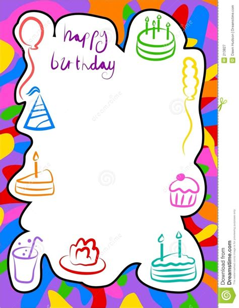 birthday card border templates birthday border clipartion