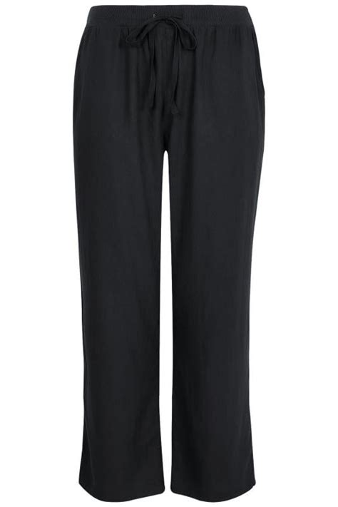 How To Check Balance On H M Gift Card - black linen mix pull on wide leg trousers with pockets plus size 16 to 36