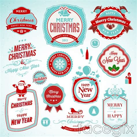 new year label vector merry tag vector free