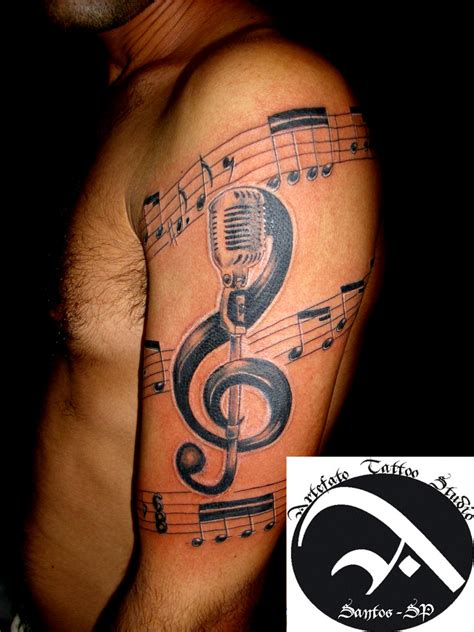 tattoos about music large treble clef pretty cool with the mic