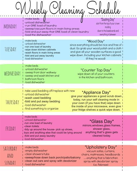clean my house my quirky weekly cleaning chart free printable first