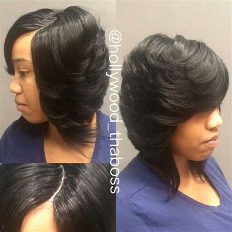 Invisible Part Quick Weave Short Styles | invisible part quick weave hair nails and make up