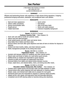 Busser Resume Sample   My Perfect Resume