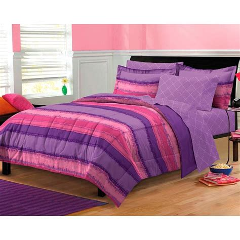tie dye purple pink 7 piece bed in a bag with sheets set