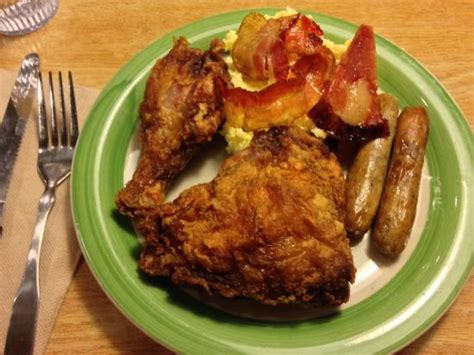 the country buffet fried chicken scrambled eggs bacon and sausages