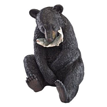design toscano sitting black bear fish  mouth bfg supply