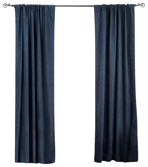 Navy Velvet Curtains Navy Blue Rod Pocket Velvet Curtain Drape Panel 80w X 84l Traditional Curtains