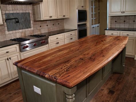 kitchen island with bar top spalted pecan custom wood countertops butcher block