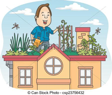 House Plans With Balcony Illustration Of A Man Tending To His Rooftop Garden