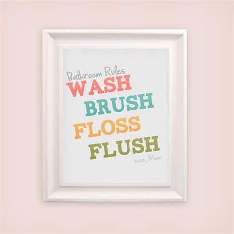 bathroom rules quot wash brush floss flush quot bathroom wall art