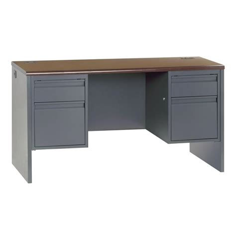 home depot desk ls sandusky 800 series pedestal credenza steel desk in charcoal mahogony cr38 7224 mc the