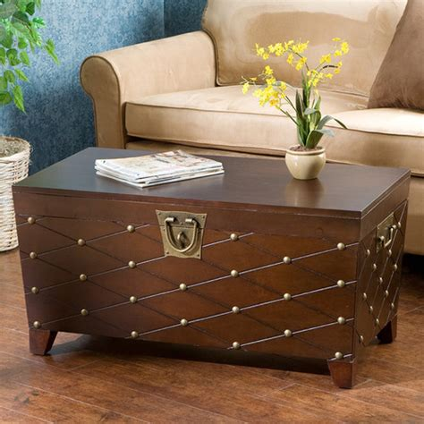 Calvert Trunk Coffee Table With Lift Top Modern Coffee Modern Trunk Coffee Table