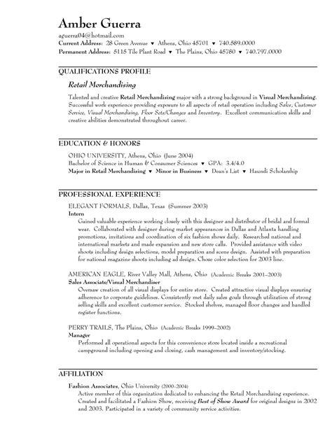 sle resume for retail sales associate in a clothing store sle resume for retail sales