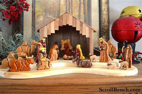 Modern Chess Set scroll bench nativity scene intarsia