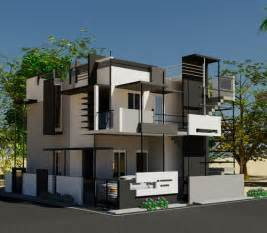 Row Houses In Hyderabad - 3d view of puru s front elevation house design by ashwin archtiects in bangalore call 91 80
