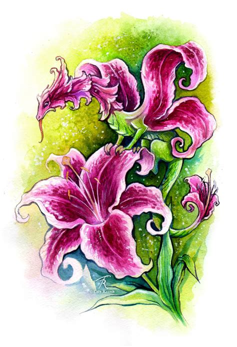 dragon lily tattoo pink by trollgirl on deviantart