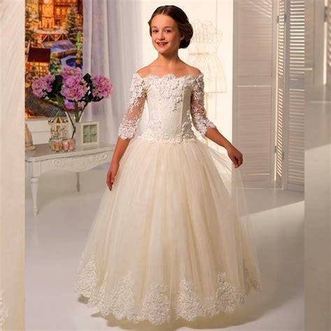 Flower Dresses For Weddings by Aliexpress Buy Ivory Lace Flowergirls Flower