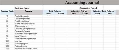 Free Accounting Templates In Excel Accounting Journal Template