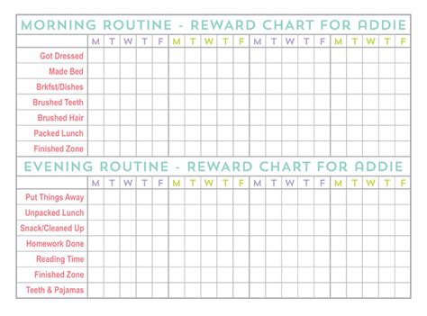printable reward charts for 8 year olds printable chore charts for 10 year olds best photos of