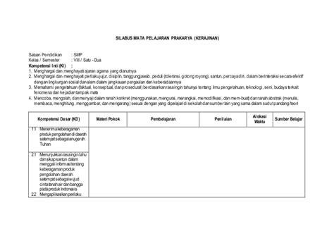 Prakarya Smp Kelas Vii Semester Dua silabus prakarya kerajinan kls 8 dw