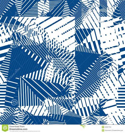 pattern single color blue geometric tiles seamless pattern single color vector