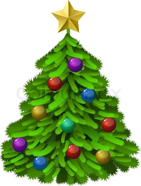 green decorated christmas tree isolated on white