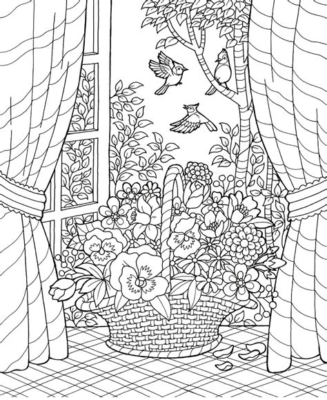 coloring pages of garden scene coloring party