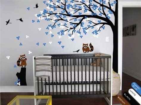 nursery wall mural nursery wall tree decal raccoon corner tree mural vinyl sticker kr032 happyplace on artfire