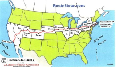 road map across us the road trip us route 6 goes completely across
