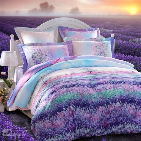 bedding inn com beautiful lavender garden printing 3 piece cotton duvet