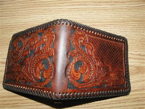 Handcrafted Leather Wallet - custom personalized tooled leather wallet