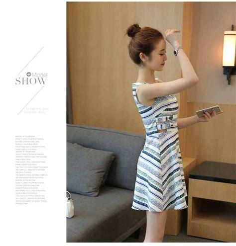 Dress Garis dress motif garis garis lengan buntung myrosefashion